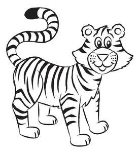 小老虎简笔画大全可爱|4张可爱的小老虎简笔画