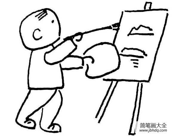 [男孩英文名]小男孩野外写生简笔画