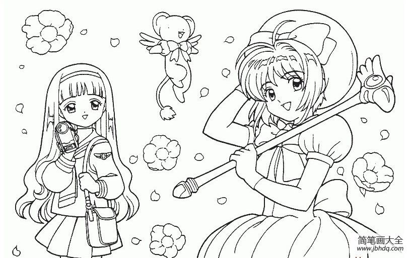 【卡通简笔头像】卡通小女孩简笔画图片2张