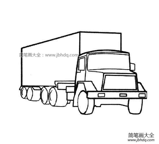 【大卡車簡筆畫圖片大全】大卡車簡筆畫