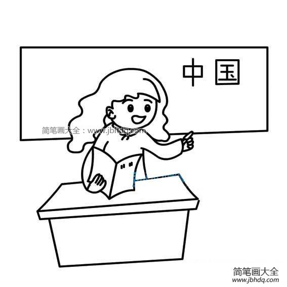 老师讲台图片简笔画_讲台上的老师简笔画