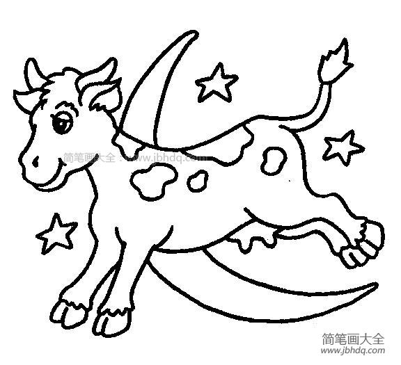 星空下奔跑的奶牛