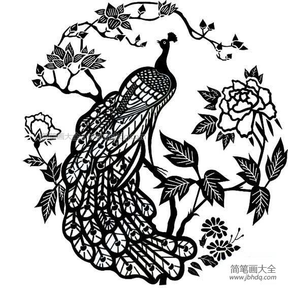 【孔雀和花简笔画图片大全】孔雀和花简笔画图片