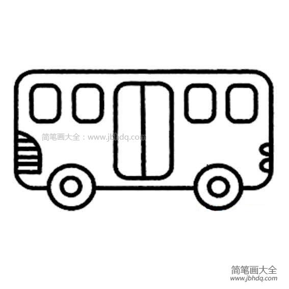 公共汽车简笔画图片大全 小型公共汽车简笔画 公共汽车简笔画 百人简