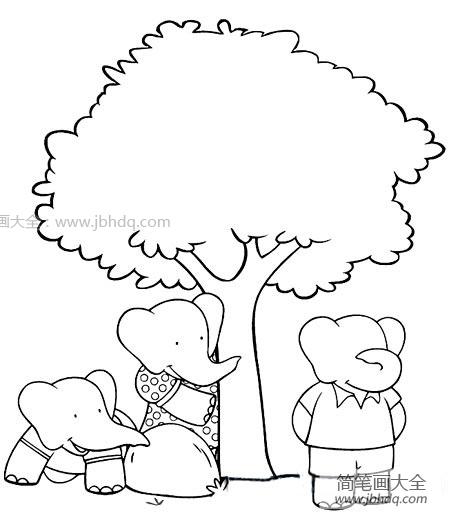 简笔画大象的画法_玩游戏的大象简笔画