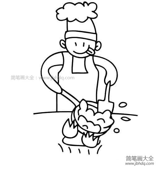 【炒菜简笔画图片大全集】在炒菜的厨师简笔画