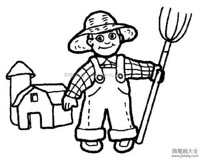 农民伯伯种地简笔画 农民伯伯简笔画 儿童水彩画 百人简笔画 儿童简