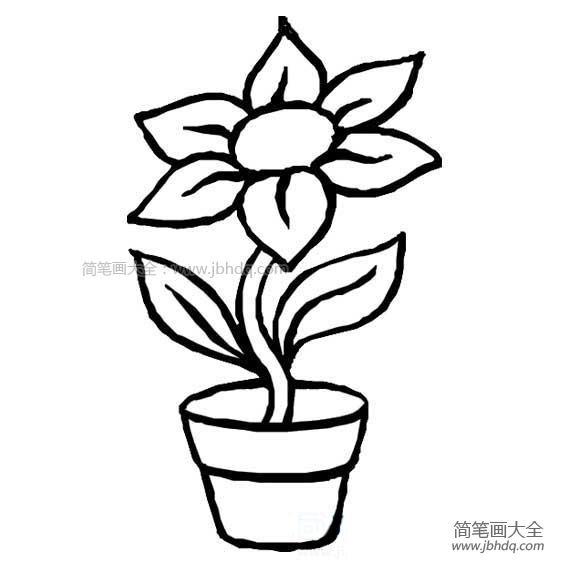 [花盆简笔画 彩色]花盆里的一朵花简笔画
