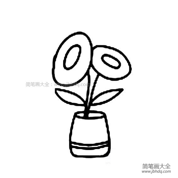 花盆和花的简笔画图片_花盆和花简笔画
