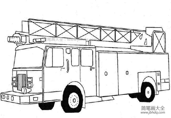 [消防云梯车简笔画]云梯车简笔画图片
