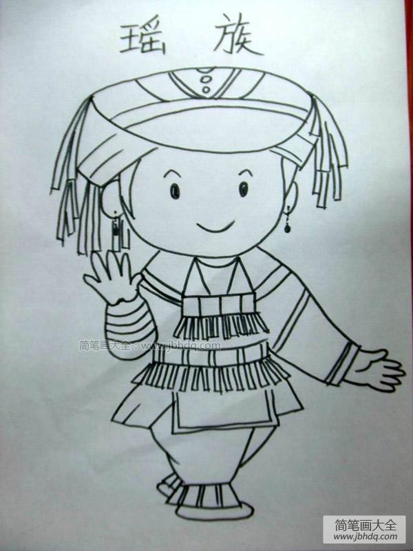 瑶族人物简笔画 瑶族小女孩简笔画 小女孩简笔画 百人简笔画 儿童简笔画图片