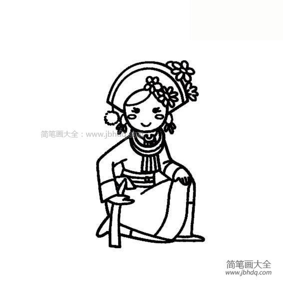 [阿昌族人物简笔画]阿昌族少女简笔画