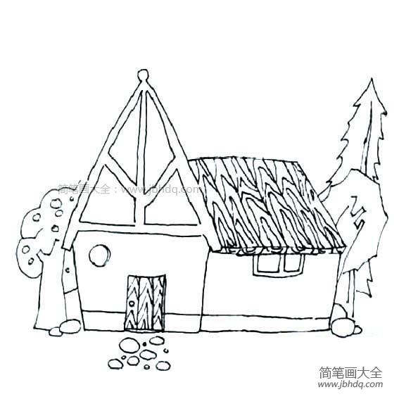 漂亮的房子简笔画图片大全 漂亮的房子简笔画图片 儿童油棒画 百人简