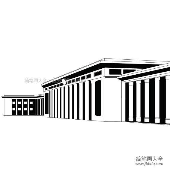 【人民大会堂彩色简笔画】人民大会堂简笔画
