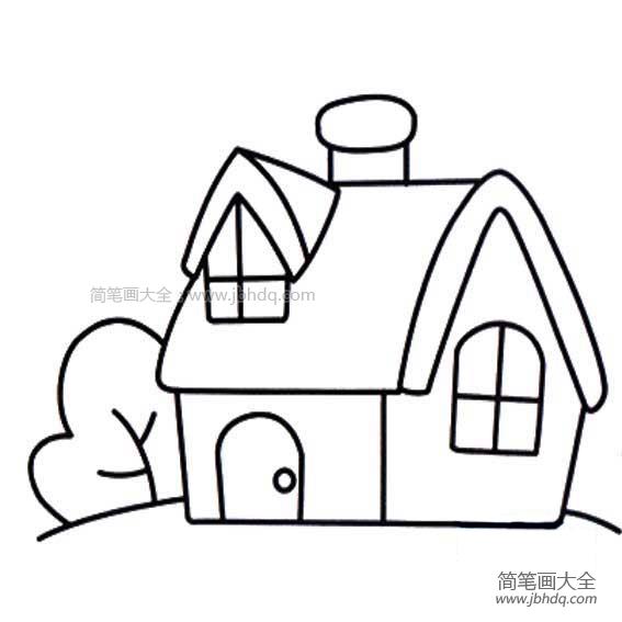 手帐素材简笔画 房子简笔画素材 儿童油棒画 百人简笔画 儿童简笔画图片