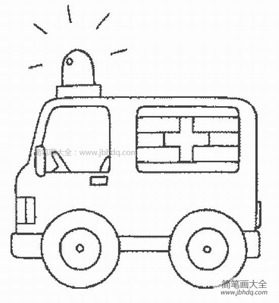 简单的救护车简笔画图片大全_简单的救护车简笔画