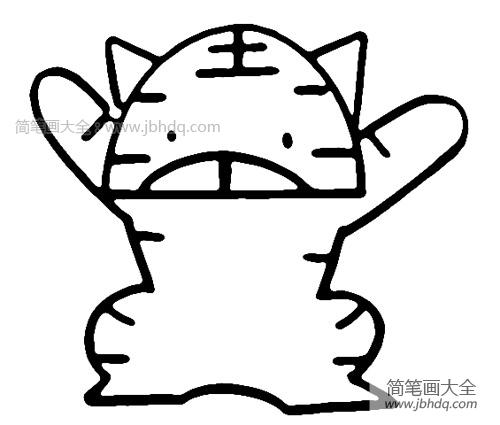【简笔画老虎的画法步骤图】卡通老虎简笔画画法