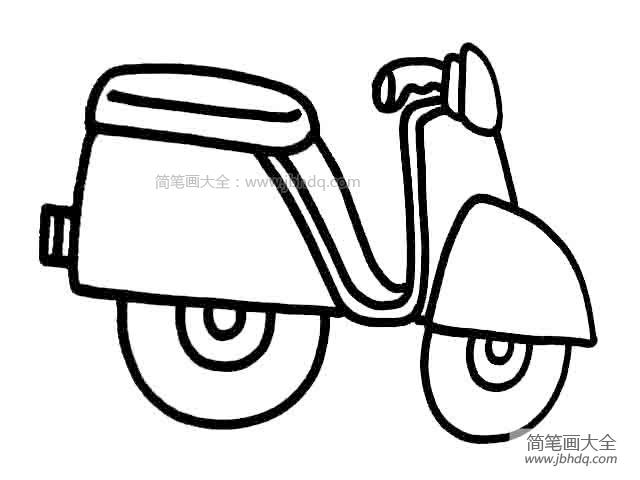 【摩托车简笔画图片大全大图】儿童摩托车简笔画图片