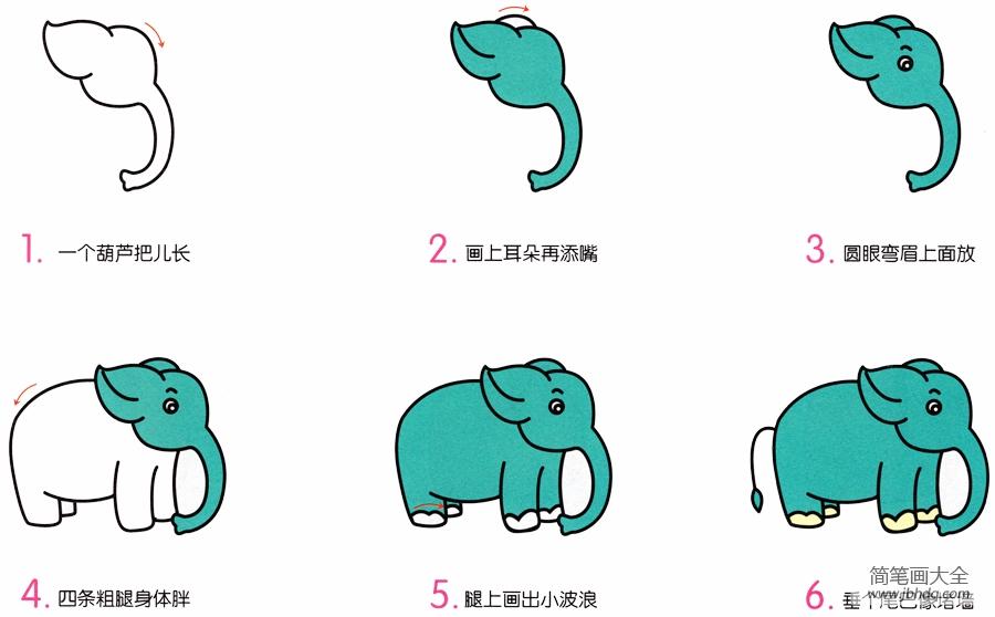 简笔画大象的画法|大象简笔画画法