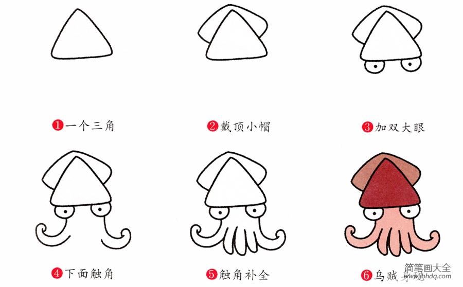 【章鱼的画法图片简笔画】简笔画章鱼的画法
