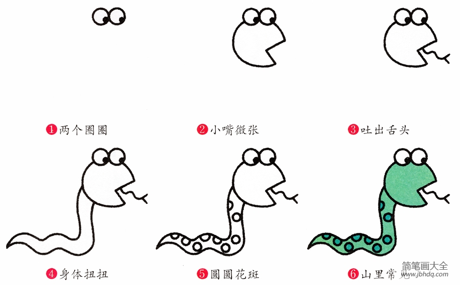 [蛇的画法简笔画图片]简笔画蛇的画法