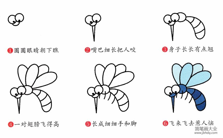 蚊子的画法简笔画图片|简笔画蚊子的画法