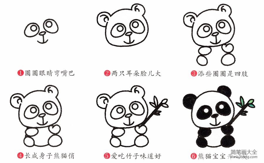 熊猫的画法简笔画图片|简笔画熊猫的画法