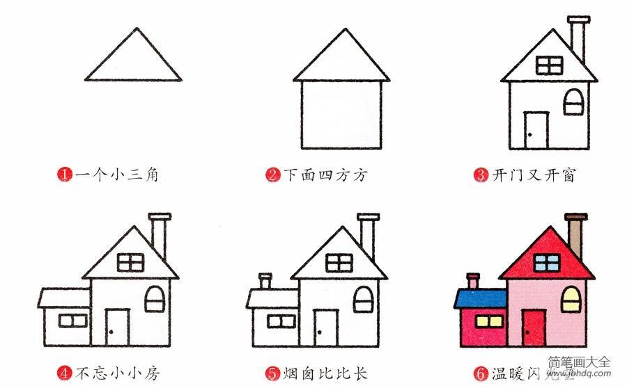 【房子的画法简笔画图片】房子简笔画画法