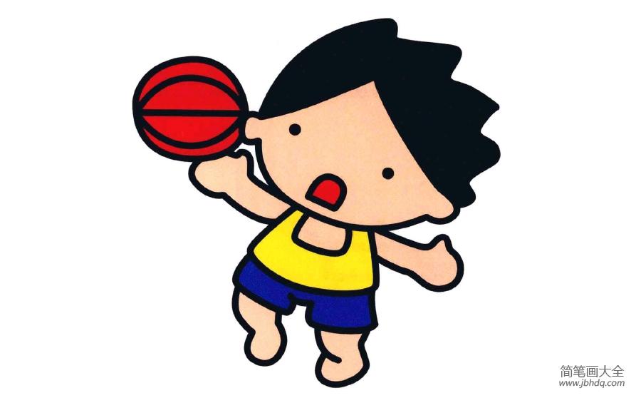 简笔画打篮球的小男孩