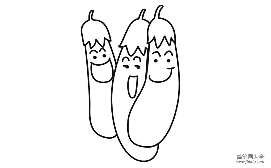 [卡通茄子简笔画图片大全]卡通茄子简笔画 - 儿童蜡笔
