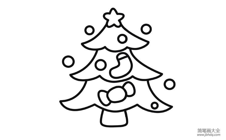 【简笔画圣诞树画法】简笔画圣诞树