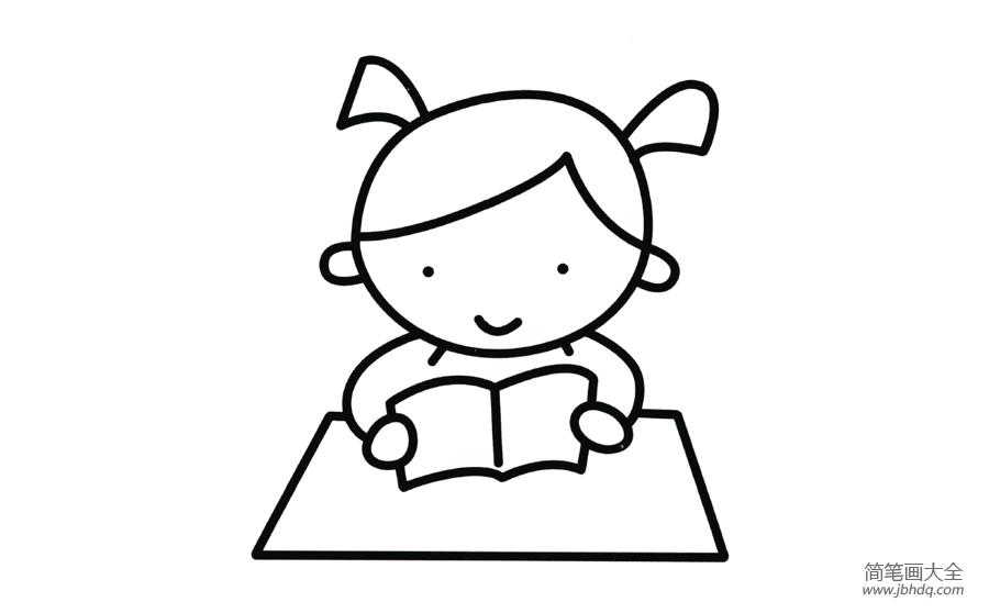【读书的简笔画图片大全】读书的小女孩简笔画图片