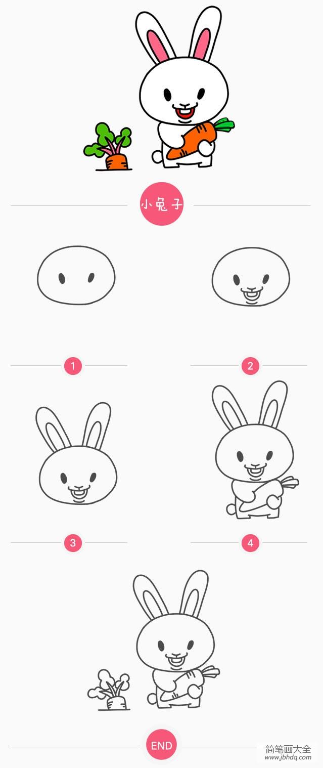 简笔画小兔子的画法 小兔子简笔画画法 兔子简笔画 百人简笔画 儿童简