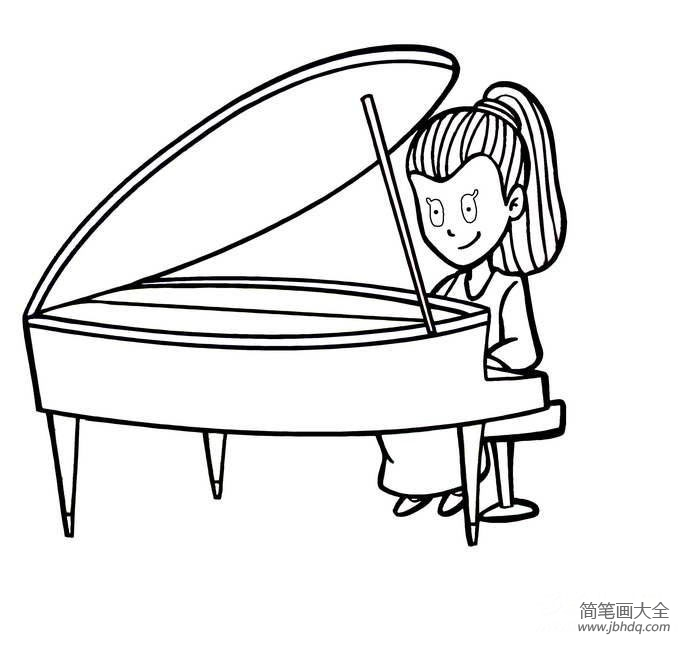 小朋友弹钢琴简笔画|弹钢琴的人简笔画画法