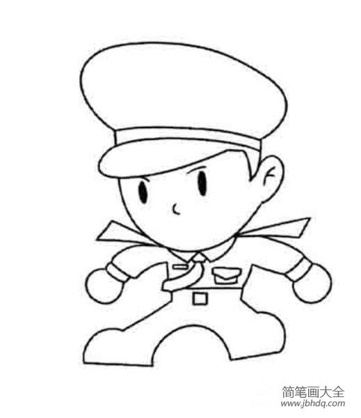 卡通警察简笔画图片大全 卡通警察简笔画 警察简笔画 百人简笔画 儿童简