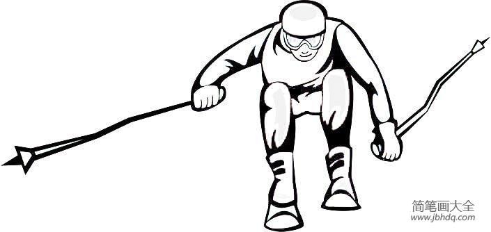 【体育运动简笔画图片大全】体育运动简笔画之滑雪