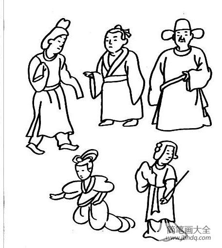 【游乐场简笔画图片大全】儿童简笔画古装人物