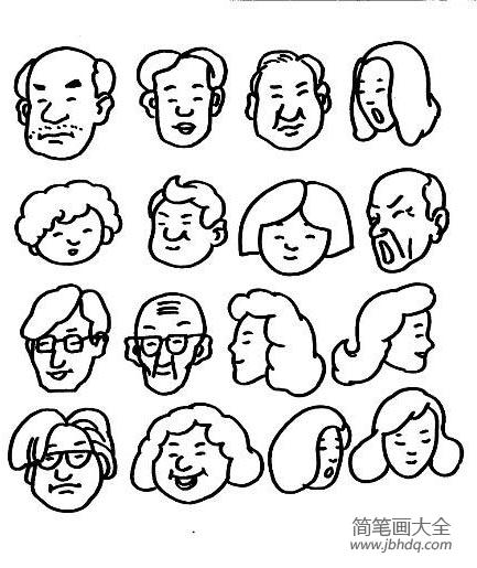 简笔画人物头像女|各类人物头像简笔画