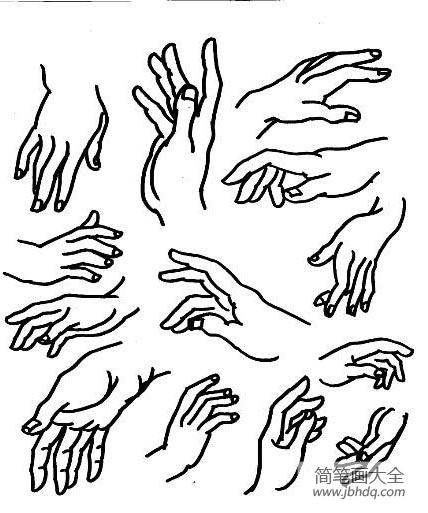 [速写人物五官]人物五官和手脚简笔画