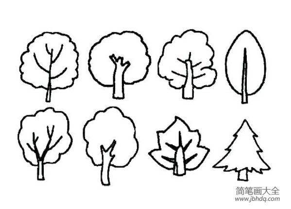 儿童简笔画简单的树木画法 树木简笔画 亲子简笔画大全