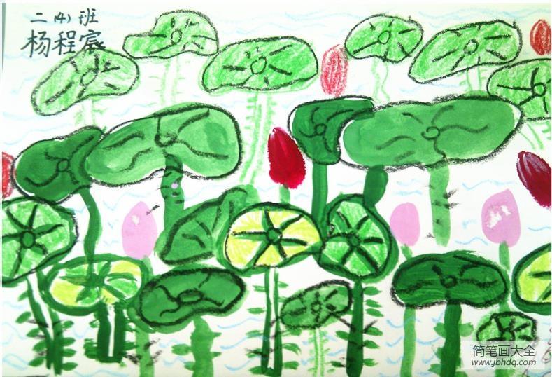 儿童画荷花的骑士