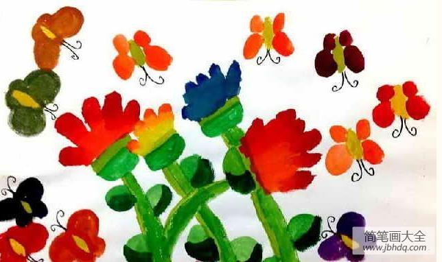 儿童画夏日蝴蝶