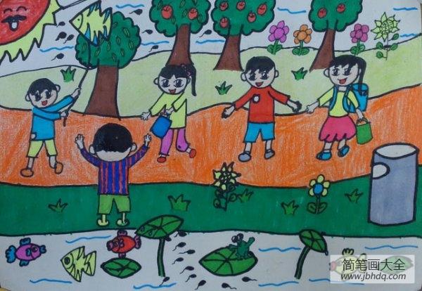 儿童画画学习_儿童画我们一起去秋游