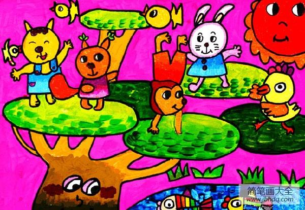 儿童画动物真快乐