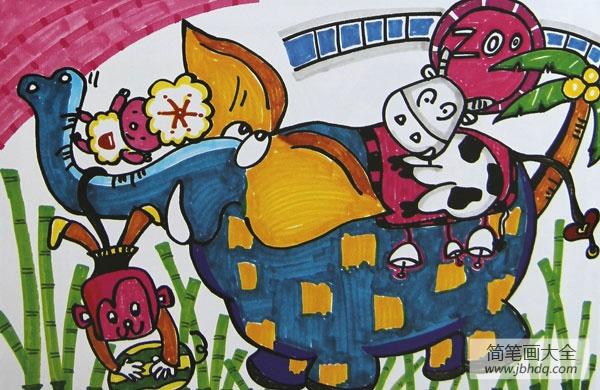 儿童画大象背小孩