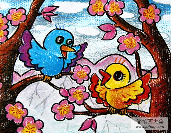 儿童画可爱的小鸟