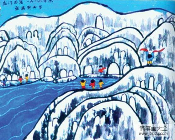 儿童画下雪了