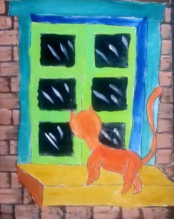 儿童画窗台上的猫