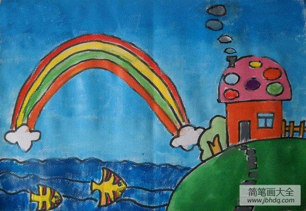 儿童画画学习|儿童画挂在天上的彩虹