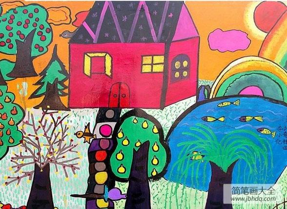 儿童画乡村美景